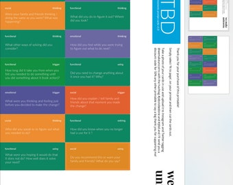 Jobs-To-Be-Done JTBD energy moments, DIGITAL prompt card printable