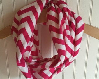 Toddler Hot Pink and White Chevron Infinity Scarf 215640507