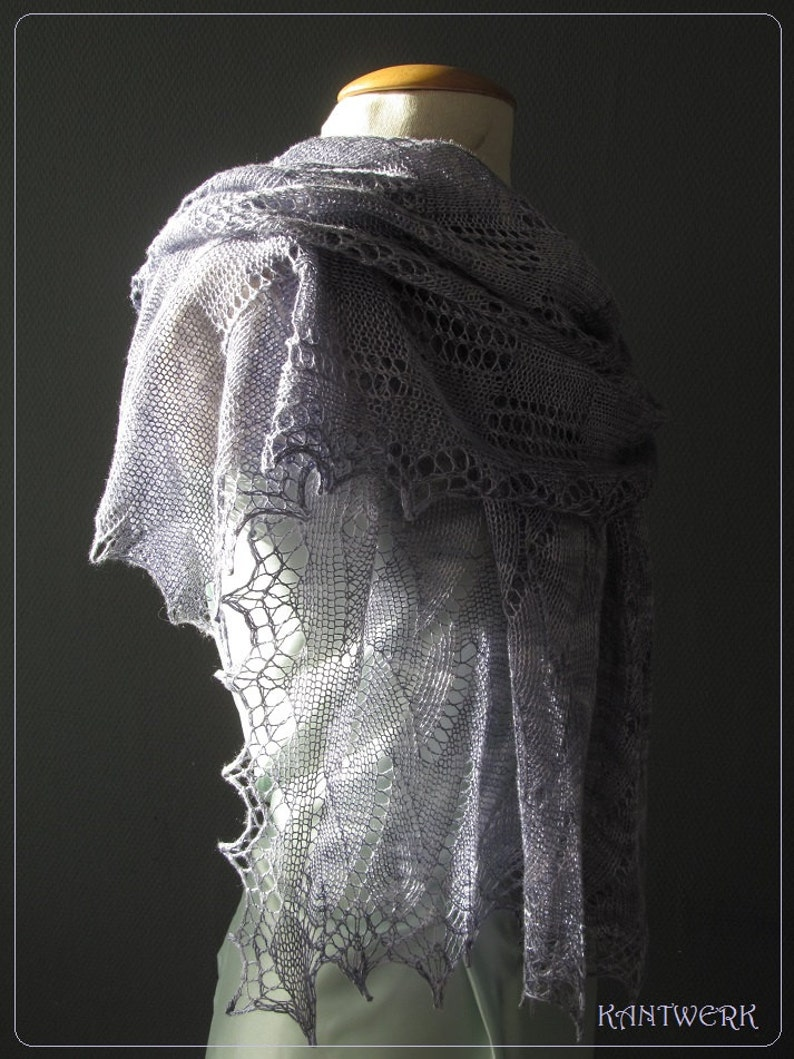 FORTRESSE a pattern PDF for a rectangled lace shawl image 0