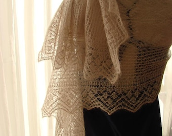Twin Pearls Original Hand knitted  Shawl Pattern PDF ENG and NL