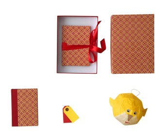 Baby Gift Set, Memory keepsake box, gift idea for baby shower, parents, red mustard, Nauli keepsake gift set, brag book, notebook
