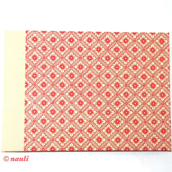 red créme Photo Album Java  Lotus Flower DIN A4 expandable guestbook