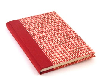 red Notebook, A6 blank book with red white graphic pattern, travelers notebook, small bullet journal.