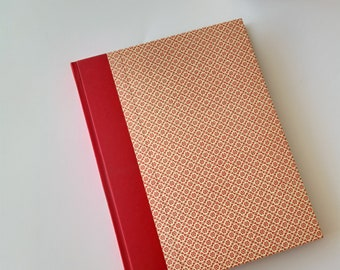 red Photo Album portrait format with a pattern of graphic flowers, gift idea for birthday, wedding album, guestbook