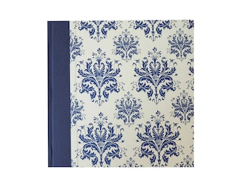 guestbook, wedding guest book, damask blue ivory white, classic guest book, square notebook, blank book