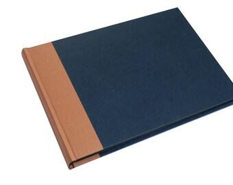 XL large photo album dark blue copper, wedding album, wedding guest book