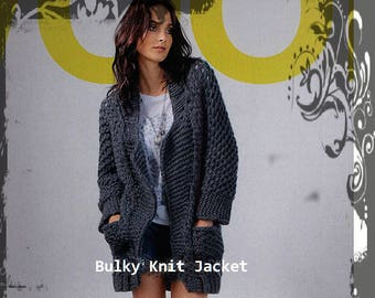 Knitting Pattern Download - Bulky Knit Jacket - 32 to 44 sizes