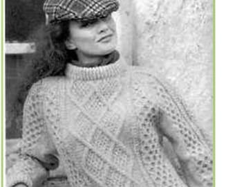 Vintage KNITTING PATTERN - Irish Sweater for Women or Men Aran Cable Fisherman Knit Pullover PDF download