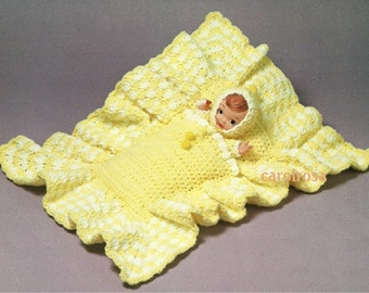 Vintage Crochet Pattern Baby Doll In Cuddle Sack Baby Nest Pdf Instant Download