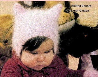 Knitting Pattern - Kitty Bonnet in Angora/Fluffy yarn CR32