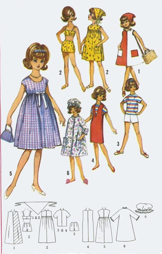 Vintage Doll Clothes Knitting Pattern ~ Barbie Midge Tammy Stacey