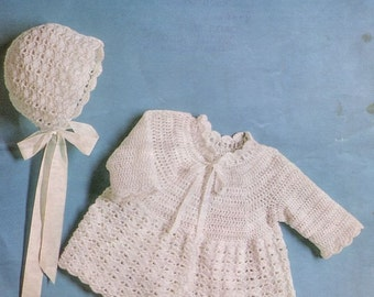 Vintage Baby CROCHET PATTERN - Baby Matinee Jacket/Cardigan/Sweater and Bonnet 18-19 in