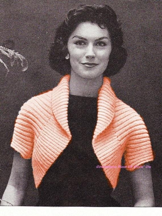 1950s Simple Shrug Bolero Knitting Pattern Easy To Etsy