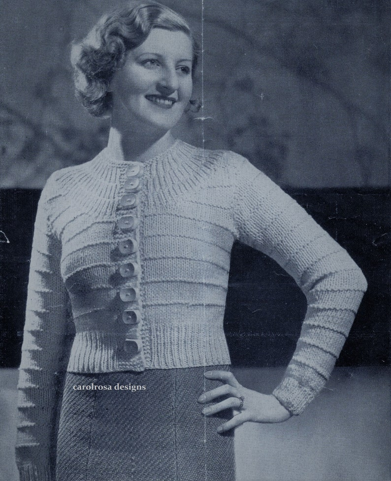 43fae317a Knitting Pattern restored Vintage 1930 Womens Cardigan 32 34