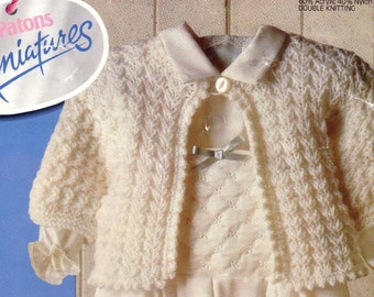 Baby Knitting PATTERN - Matinee Jacket/Sweater in DK 16 - 20 inches PDF download