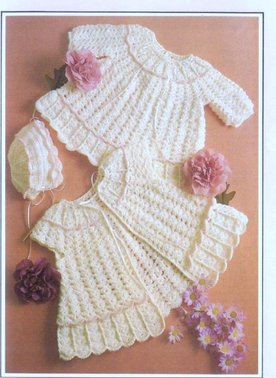 Crochet Pattern Baby Dress and Sweater/Jacket and Bonnet | Etsy