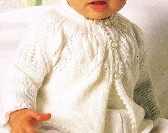 Vintage Baby Knitting PATTERN - Baby's Matinee Coat  3ply 18 - 20 inches