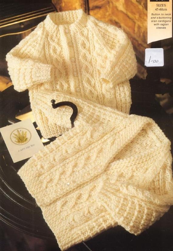 4d6cb7eda Baby Child KNITTING PATTERN Aran Sweaters 45 60 cm chest