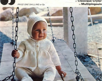 DOWNLOAD PDF Baby Knitting Pattern -  Coat, Leggings, Bonnet, Hood and Mittens 18 to 22 ins