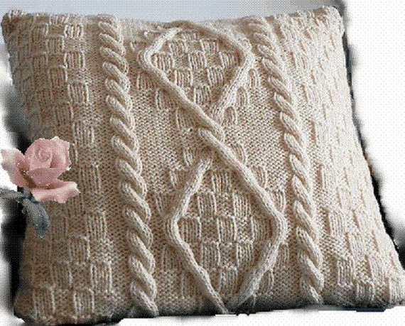 Knitting Pattern Cable Aran Cushion Pillow Cover Fisherman Etsy
