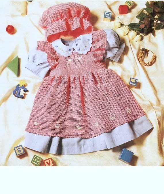 bf9768671 Download Baby Crochet PATTERN - Pinafore Tunic and Mob Cap - Thread - 16 to  20 inch chest
