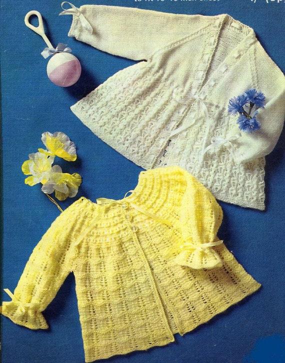 8876590b3fe945 Baby KNITTING PATTERN 2 Matinee Jackets Cardigans Sweaters