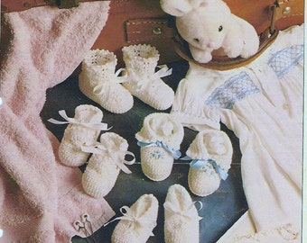Baby Crochet Pattern - Booties Bootees - 4 Styles for Baby Birth to 3 months size PDF Download