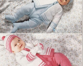Baby Knitting Pattern - Outdoor set - Coat, Leggings, Mitts and hat DK 18-20 inch chest
