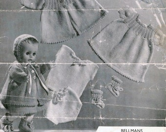 PDF Download - Vintage Doll Knitting PATTERN - Baby doll/Preemie baby Layette to Knit