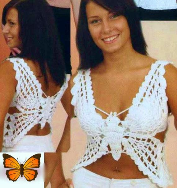 Häkelanleitung Schmetterling Top für Sommer Strand Cover Up