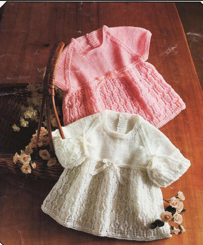2a9d72936 PDF DOWNLOAD Baby Knitting Pattern Two knit Dresses 36 to