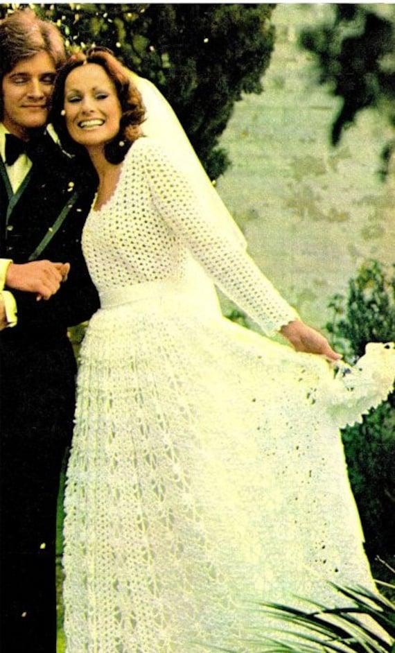 Häkelanleitung Brautjungfer und Braut Brautkleid 1970er Jahre