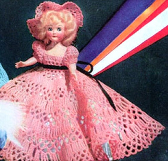 "Vintage Crochet PATTERN 11/"" Doll Clothes Dress Hat Petticoat Panties Slippers"