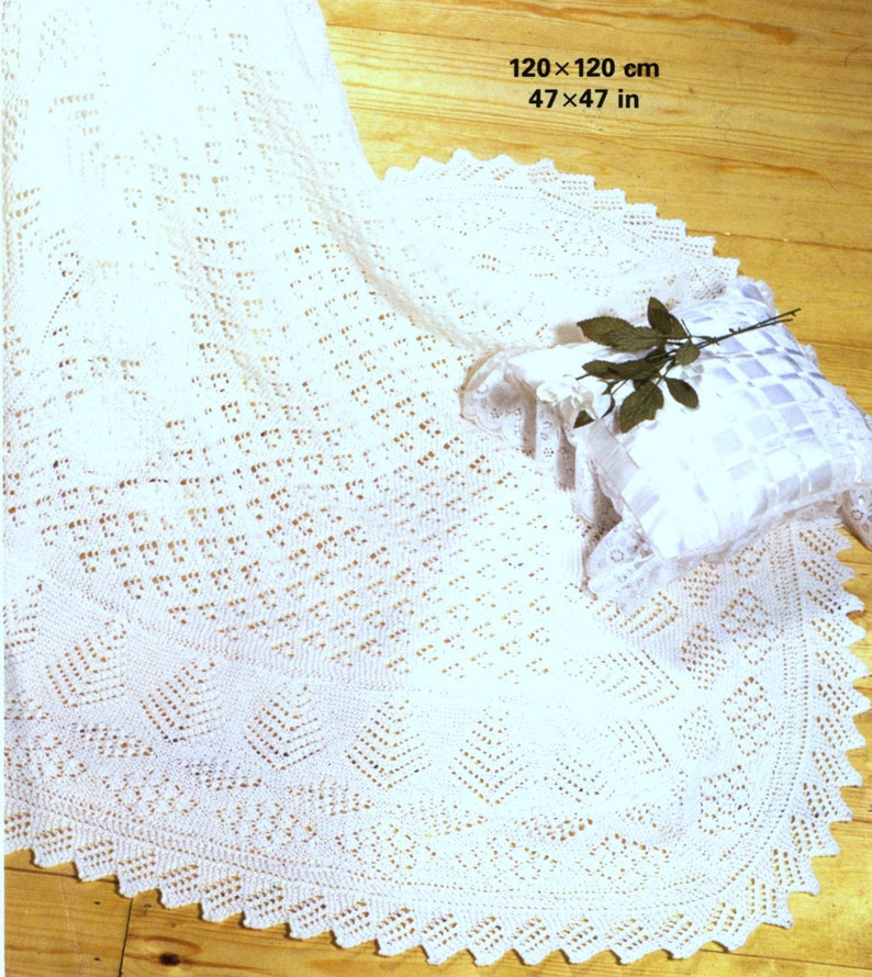 Shawl Knitting Pattern - Square Shawl Shetland Lace 3 ply - Baby Heirloom -  with Tree of Life