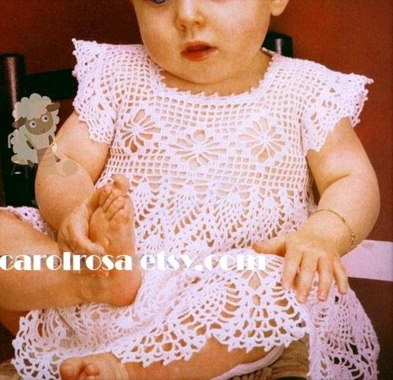 Häkelanleitung Filet Faden häkeln Babykleid Ananas 6 | Etsy