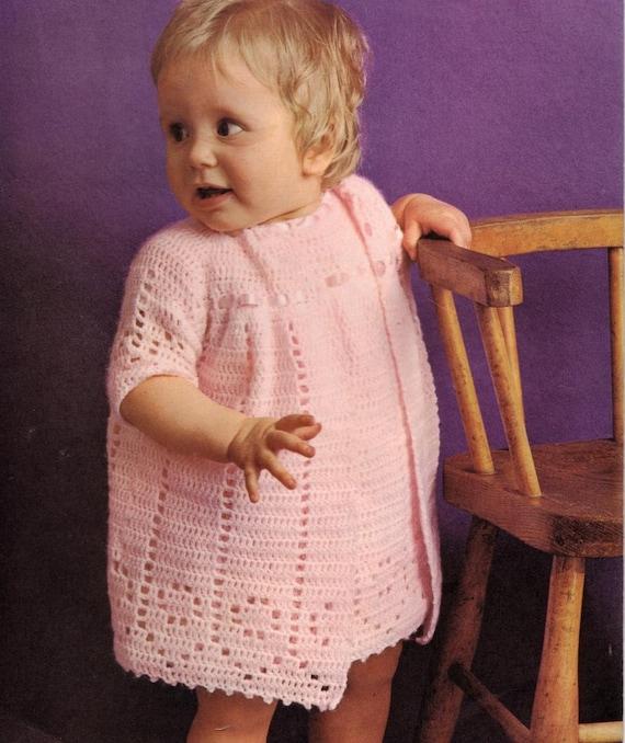 Crochet patrones crochet bebé vestido y abrigo/chaqueta | Etsy