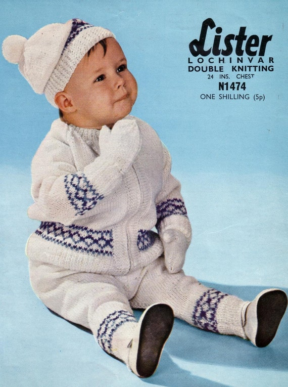 KNITTING Pattern-Vintage BABY Coat-Beret,Leggings /& Mitts in 3 ply