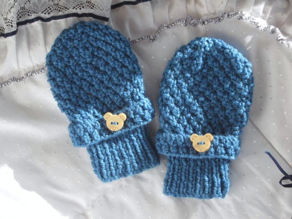 Moss Stitch Knit Mitts Knitting Pattern Winter Mittens For Etsy