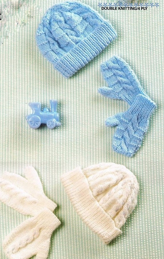 BABY KNITTING PATTERN Hats and Mittens 6 to 18 months  8ad03c1153c0