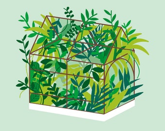 Greenhouse Print - Different Sizes Green Poster, Green Print, Plant Artwork, Greenhouse Poster, Minimal Decor, Fun Print, Climate Change