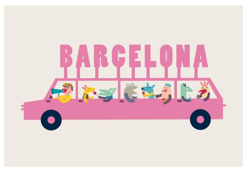 Pink Car Barcelona Different Sizes Pink Car Poster Barcelona image 0