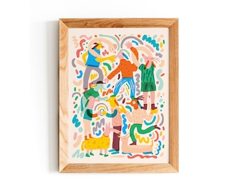 Tower of animals in beige, Different Sizes, Fun Print, Gift for Her, Mens Gift, Gift for Him, Poster, Gift for Friend, Music,