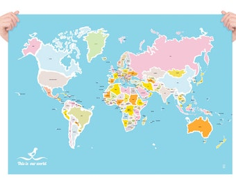 Map and Birds Large Poster, Worldmap, Large World Map Art, Travel Art, World Map, Kids Room Wall Map, World Map Nursery, Kids Map, Wall Art