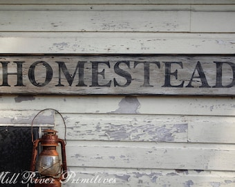 Early looking Antique Primitive HOMESTEAD Wooden Sign Custom Personalized Rustic