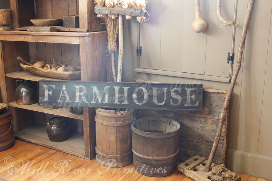 Early Looking Antique Primitive Farmhouse Wooden Sign Etsy