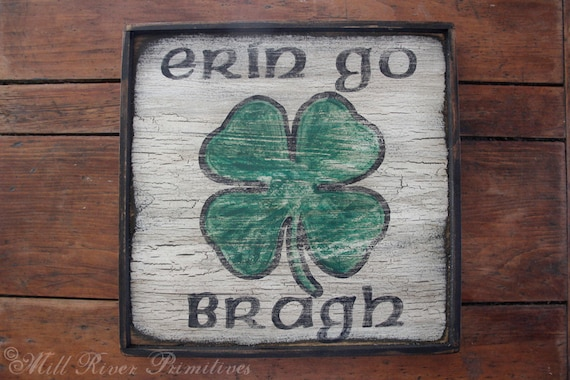 Early looking erin go bragh wooden sign irish greeting m4hsunfo