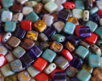25pcs CzechMates Tile Beads 6mm Square Two Hole Polychrome Rose