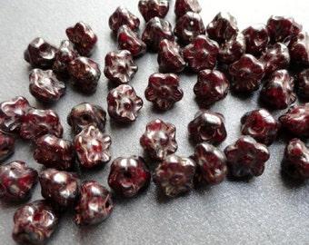 7mm Czech Glass Button Flowers - Bronze Picasso Oxblood - Premium Beads