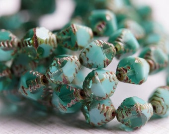 Premium Czech Glass Beads - Carved Bicone Beads - Turquoise and Aqua Picasso