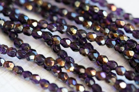 400 Tanzanite Crystal Glass 4mm Round Round Beads